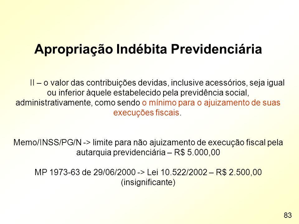 Apropriação Indébita Previdenciária II – o valor das contribuições devidas, inclusive acessórios, seja igual ou inferior àquele estabelecido pela prev
