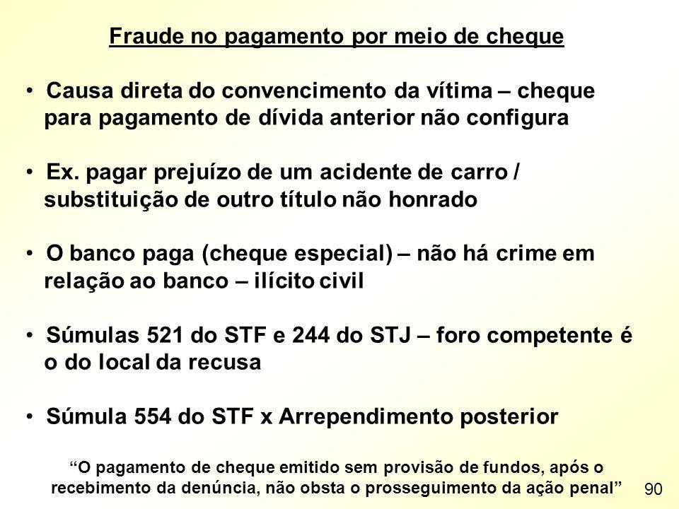 Fraude no pagamento por meio de cheque Causa direta do convencimento da vítima – cheque para pagamento de dívida anterior não configura Ex. pagar prej