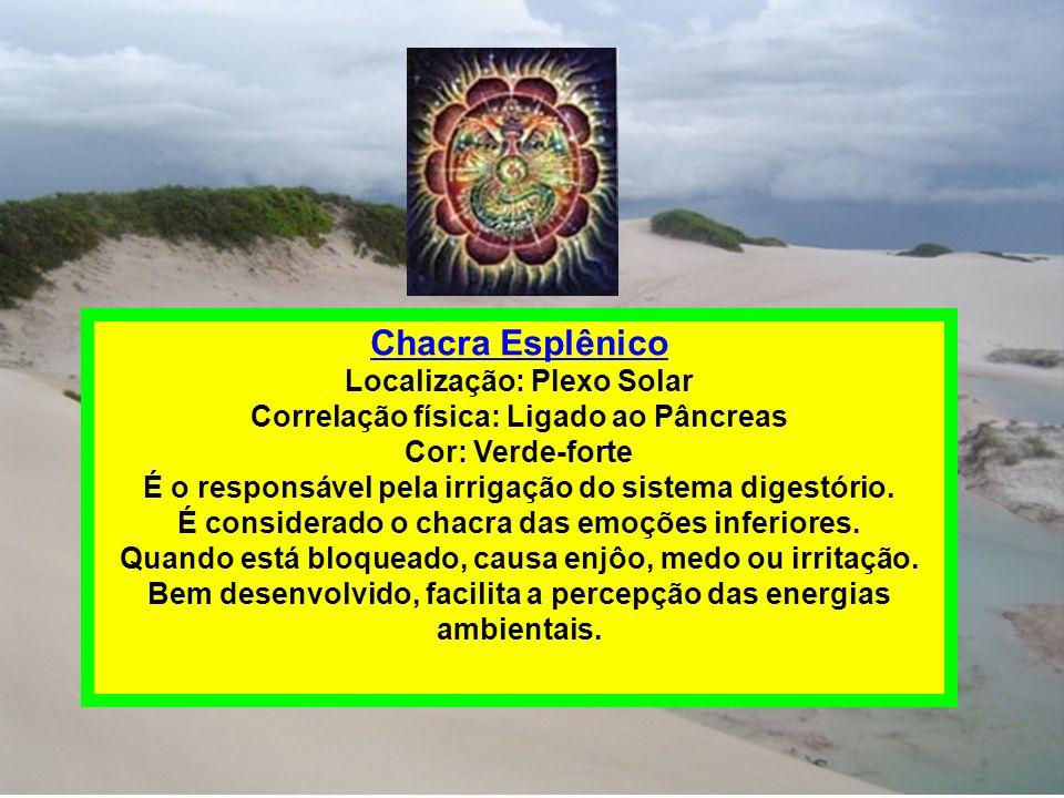 Chacra Esplênico Localização: Plexo Solar Correlação física: Ligado ao Pâncreas Cor: Verde-forte É o responsável pela irrigação do sistema digestório.