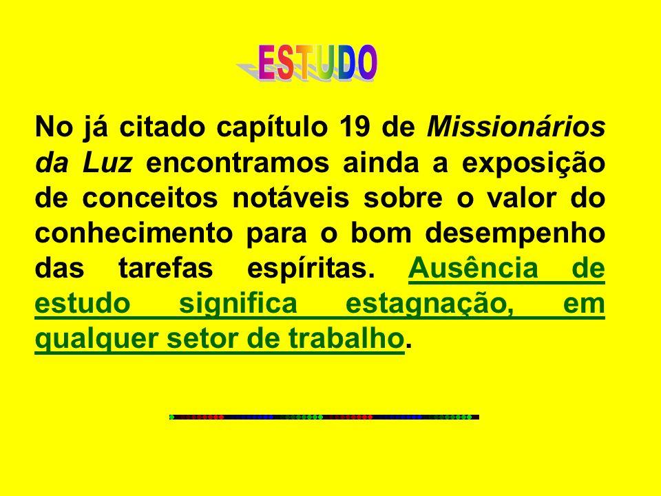 No já citado capítulo 19 de Missionários da Luz encontramos ainda a exposição de conceitos notáveis sobre o valor do conhecimento para o bom desempenh