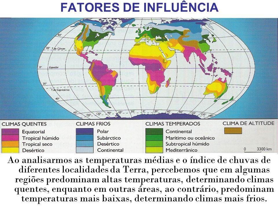 FATORES DE INFLUÊNCIA Ao analisarmos as temperaturas médias e o índice de chuvas de diferentes localidades da Terra, percebemos que em algumas regiões
