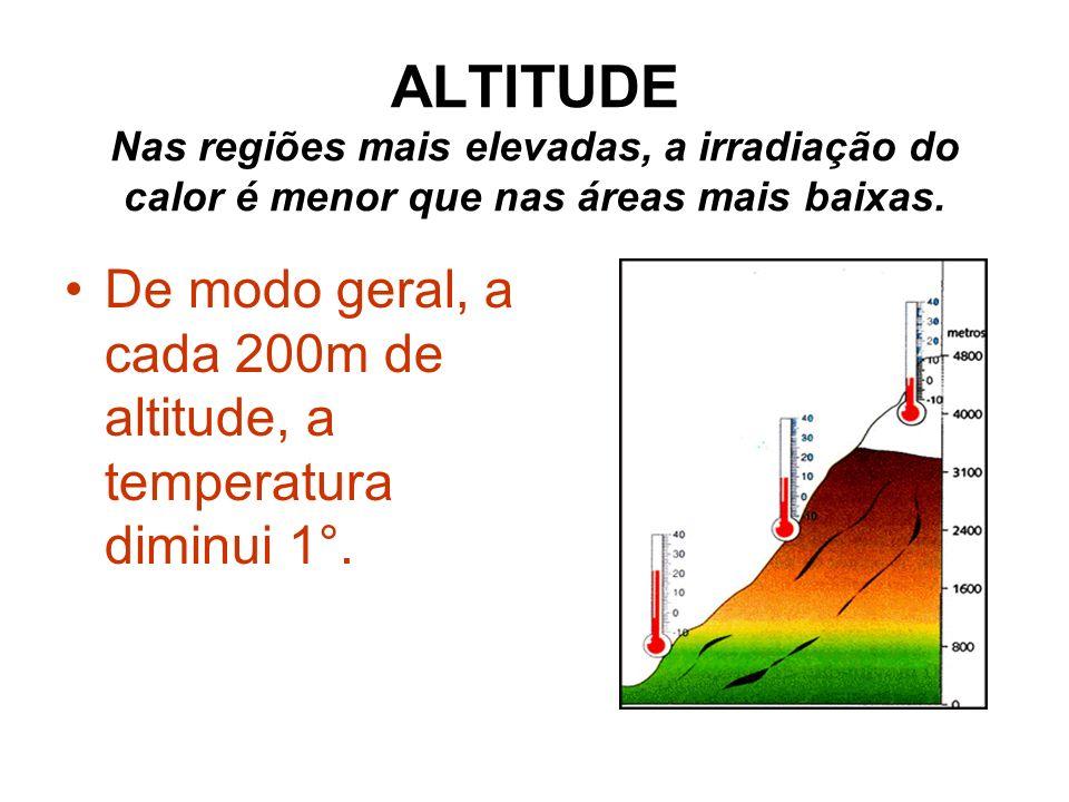 ALTITUDE Nas regiões mais elevadas, a irradiação do calor é menor que nas áreas mais baixas. De modo geral, a cada 200m de altitude, a temperatura dim
