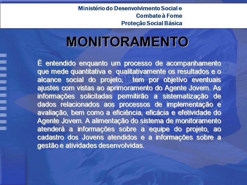 Ministério do Desenvolvimento Social e Combate à Fome Proteção Social Básica É entendido enquanto um processo de acompanhamento que mede quantitativa