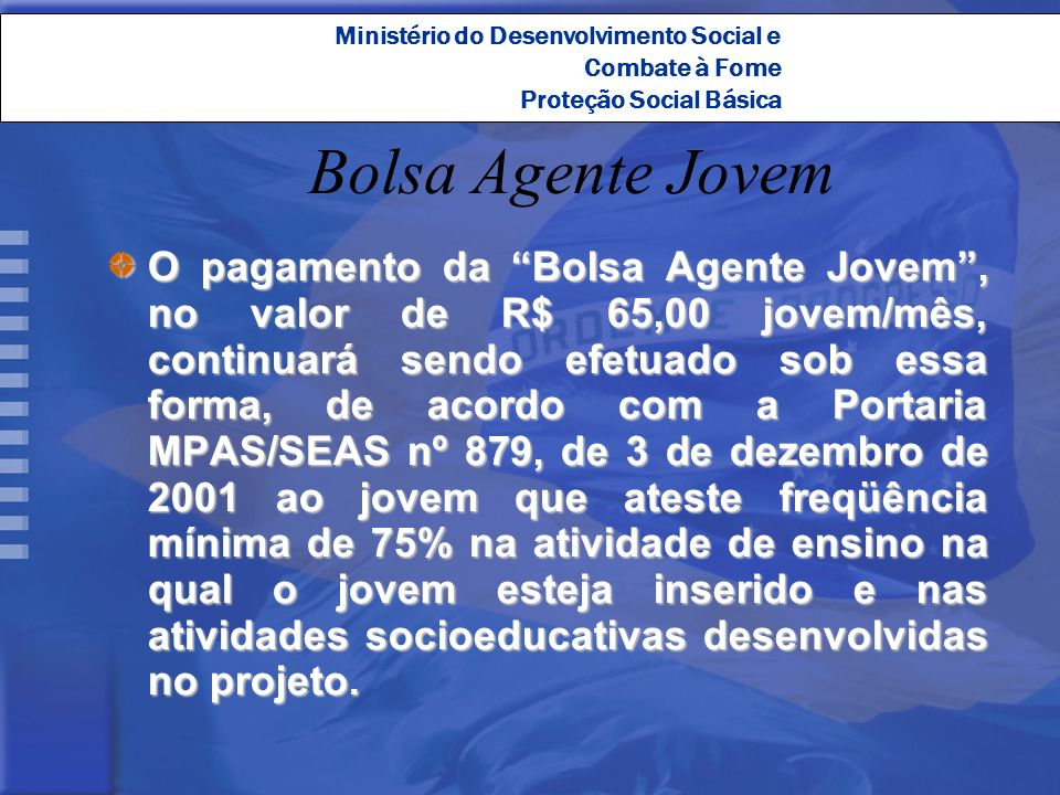 Ministério do Desenvolvimento Social e Combate à Fome Proteção Social Básica Bolsa Agente Jovem O pagamento da Bolsa Agente Jovem, no valor de R$ 65,0