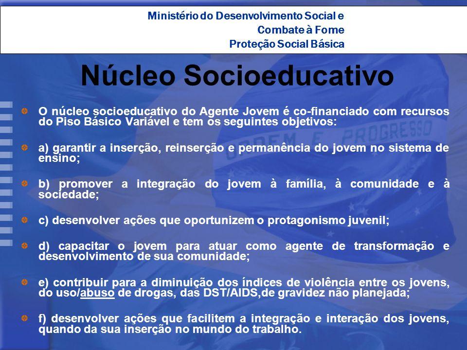 Ministério do Desenvolvimento Social e Combate à Fome Proteção Social Básica Núcleo Socioeducativo O núcleo socioeducativo do Agente Jovem é co-financ