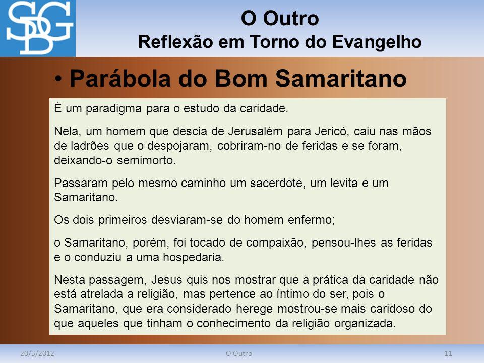 O Outro Reflexão em Torno do Evangelho 20/3/2012O Outro11 É um paradigma para o estudo da caridade. Nela, um homem que descia de Jerusalém para Jericó
