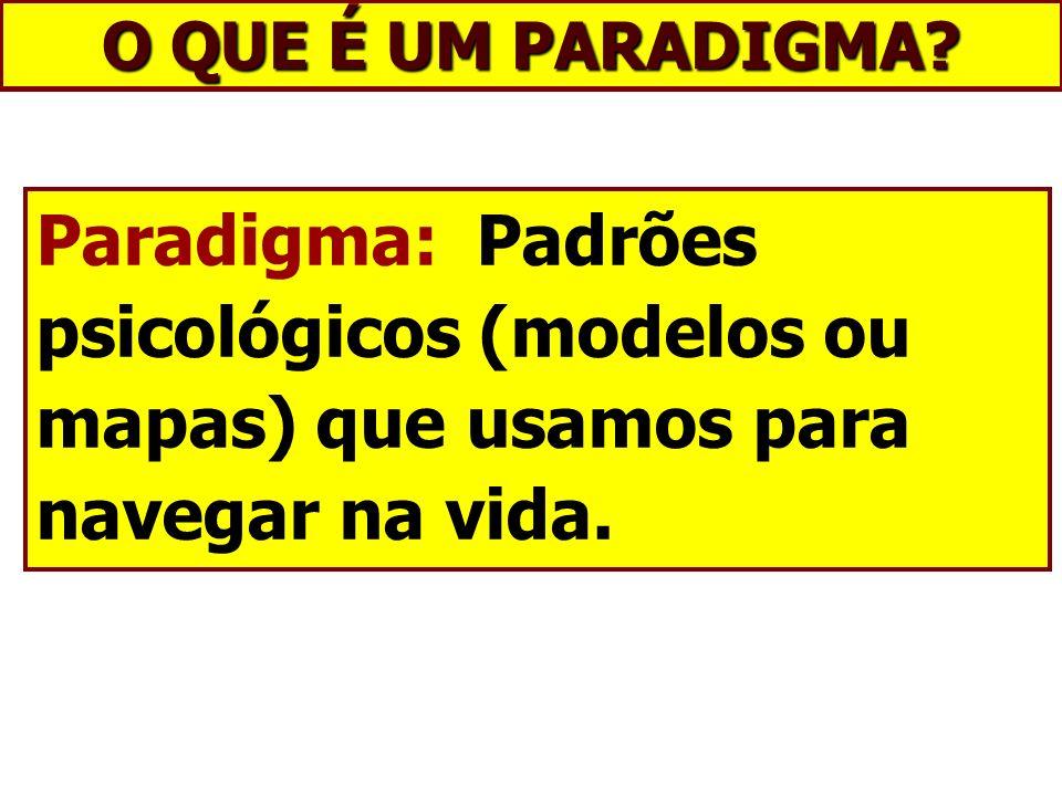 O QUE É UM PARADIGMA? Paradigma: Padrões psicológicos (modelos ou mapas) que usamos para navegar na vida.