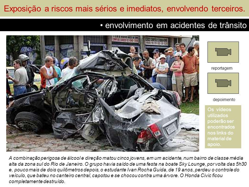 Exposição a riscos mais sérios e imediatos, envolvendo terceiros. envolvimento em acidentes de trânsito A combinação perigosa de álcool e direção mato