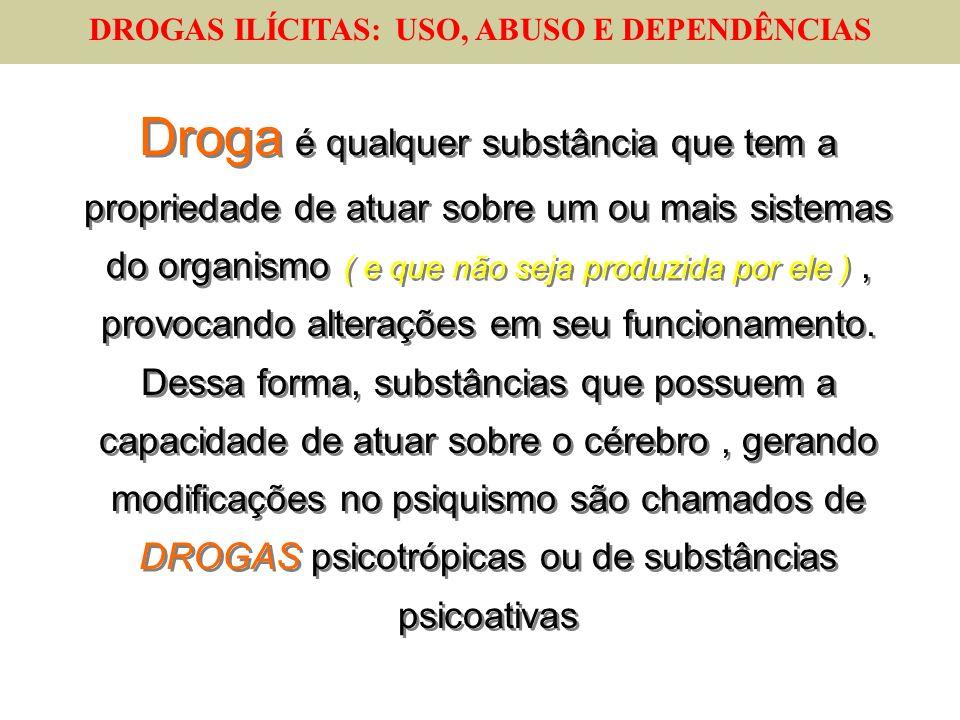 DROGAS ILÍCITAS: USO, ABUSO E DEPENDÊNCIAS Droga é qualquer substância que tem a propriedade de atuar sobre um ou mais sistemas do organismo ( e que n
