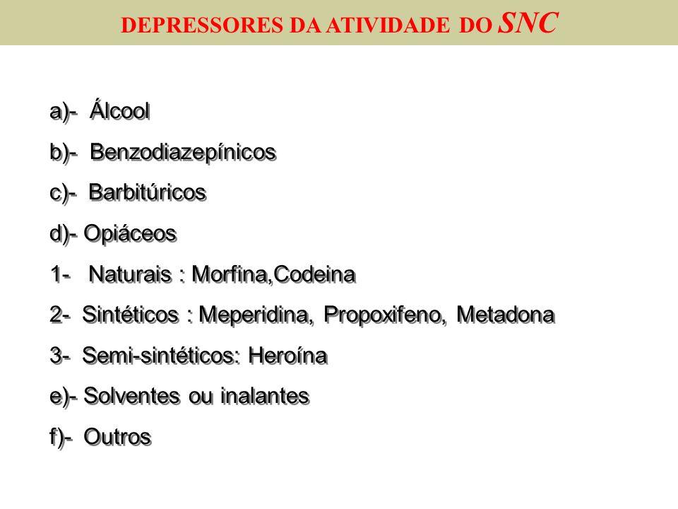 a)- Álcool b)- Benzodiazepínicos c)- Barbitúricos d)- Opiáceos 1- Naturais : Morfina,Codeina 2- Sintéticos : Meperidina, Propoxifeno, Metadona 3- Semi