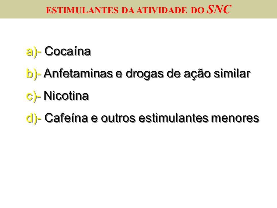 a)- Cocaína b)- Anfetaminas e drogas de ação similar c)- Nicotina d)- Cafeína e outros estimulantes menores a)- Cocaína b)- Anfetaminas e drogas de aç