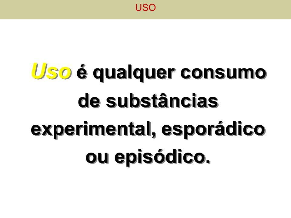 Uso é qualquer consumo de substâncias experimental, esporádico ou episódico. USO