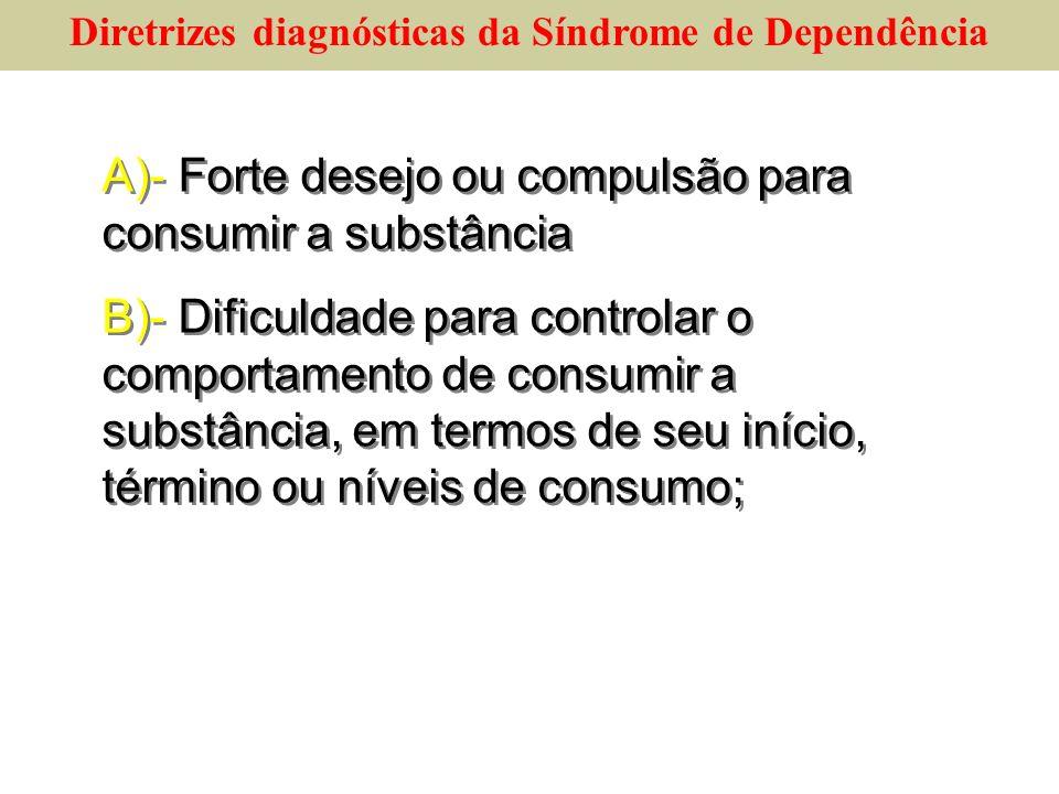 A)- Forte desejo ou compulsão para consumir a substância B)- Dificuldade para controlar o comportamento de consumir a substância, em termos de seu iní