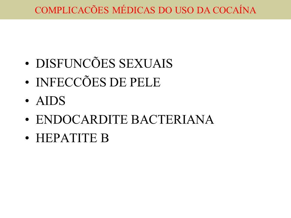 DISFUNCÕES SEXUAIS INFECCÕES DE PELE AIDS ENDOCARDITE BACTERIANA HEPATITE B COMPLICACÕES MÉDICAS DO USO DA COCAÍNA