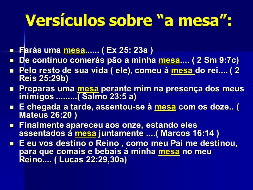 Versículos sobre a mesa: Farás uma mesa...... ( Ex 25: 23a ) Farás uma mesa...... ( Ex 25: 23a ) De contínuo comerás pão a minha mesa.... ( 2 Sm 9:7c)