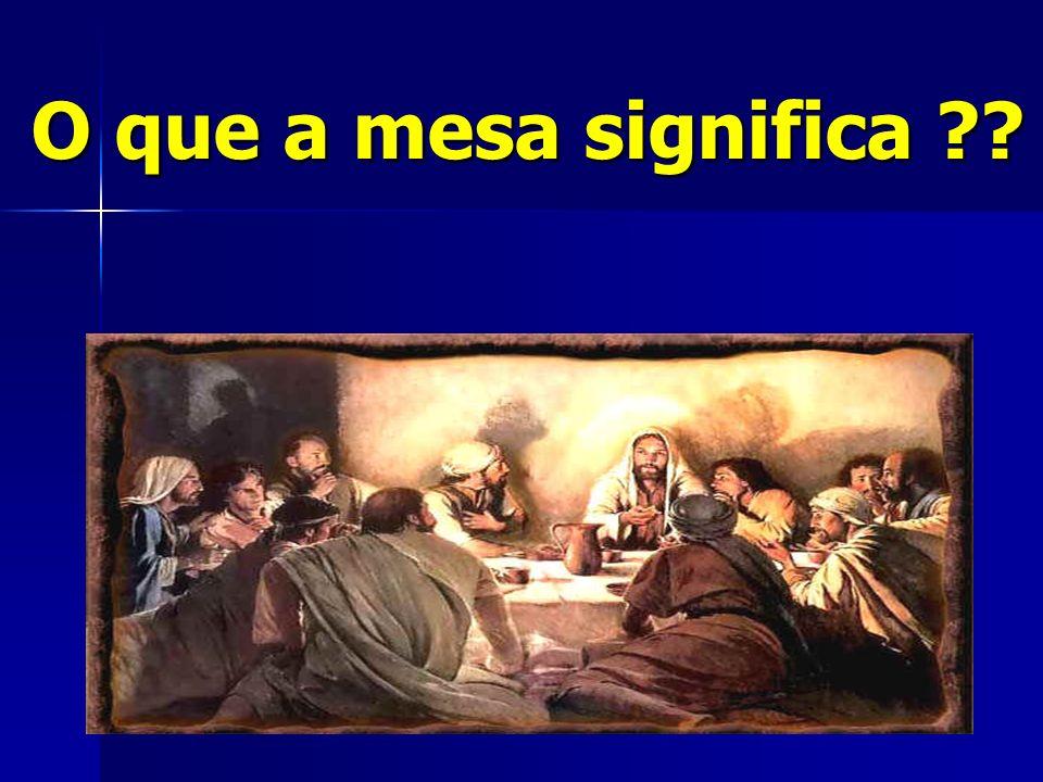 1– Lugar da presença de Deus E deixe sempre em cima da mesa, diante de mim, os pães da Presença.