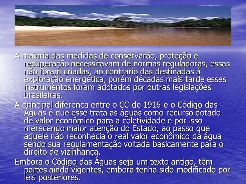 O Código das Águas A maioria das medidas de conservarão, proteção e recuperação necessitavam de normas reguladoras, essas não foram criadas, ao contrario das destinadas á exploração energética, porém décadas mais tarde esses instrumentos foram adotados por outras legislações brasileiras.