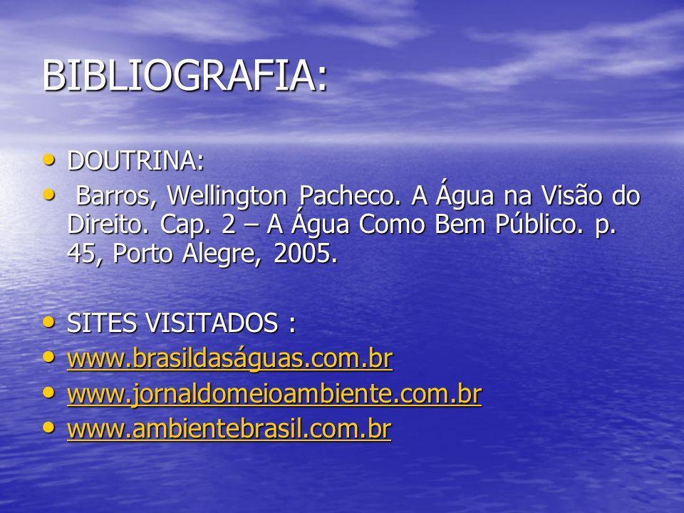 BIBLIOGRAFIA: DOUTRINA: DOUTRINA: Barros, Wellington Pacheco.