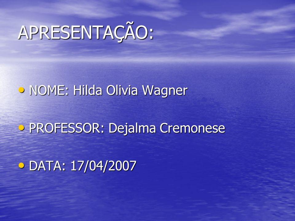 APRESENTAÇÃO: NOME: Hilda Olivia Wagner NOME: Hilda Olivia Wagner PROFESSOR: Dejalma Cremonese PROFESSOR: Dejalma Cremonese DATA: 17/04/2007 DATA: 17/04/2007