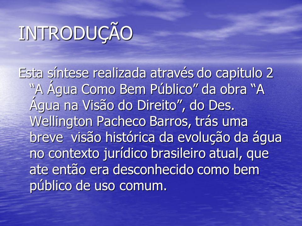 A EVOLUÇÃO DAS ÁGUAS NO DIREITO BRASILEIRO A primeira Constituição a viger no Brasil em 1824, disciplinava muito pouco sobre a água, onde o proprietário que tivesse em suas terras privadas mananciais de águas subterrâneas era o dono delas.