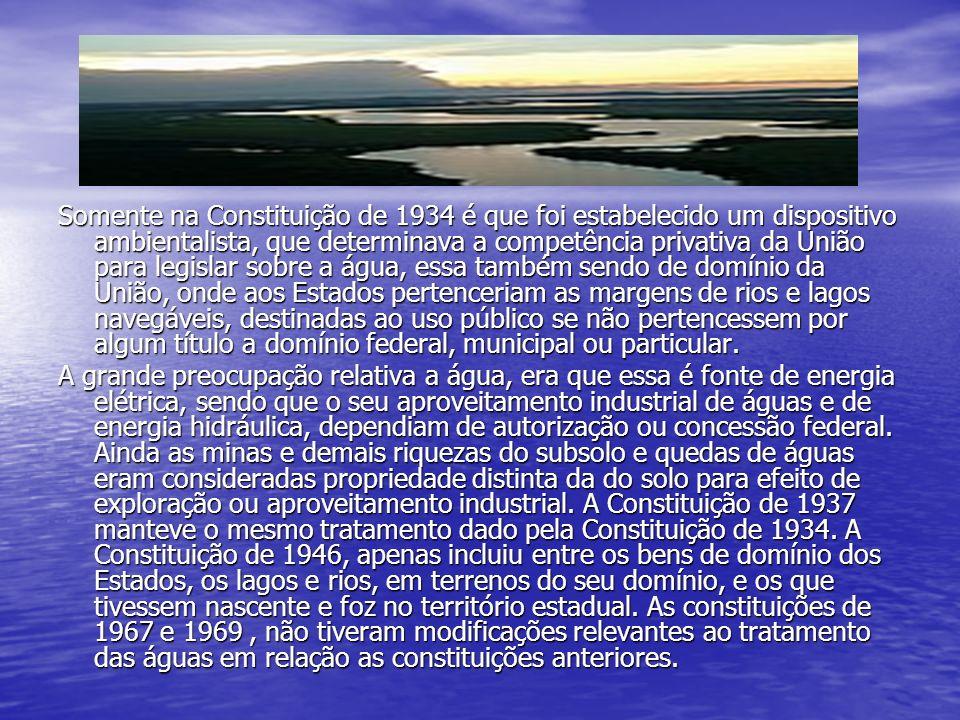 Somente na Constituição de 1934 é que foi estabelecido um dispositivo ambientalista, que determinava a competência privativa da União para legislar sobre a água, essa também sendo de domínio da União, onde aos Estados pertenceriam as margens de rios e lagos navegáveis, destinadas ao uso público se não pertencessem por algum título a domínio federal, municipal ou particular.