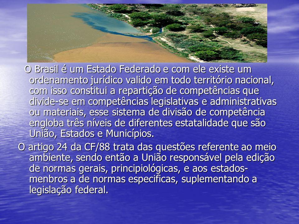 O Brasil é um Estado Federado e com ele existe um ordenamento jurídico valido em todo território nacional, com isso constitui a repartição de competências que divide-se em competências legislativas e administrativas ou materiais, esse sistema de divisão de competência engloba três níveis de diferentes estatalidade que são União, Estados e Municípios.