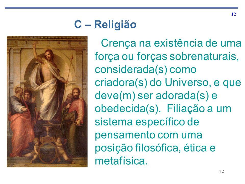 12 Crença na existência de uma força ou forças sobrenaturais, considerada(s) como criadora(s) do Universo, e que deve(m) ser adorada(s) e obedecida(s)