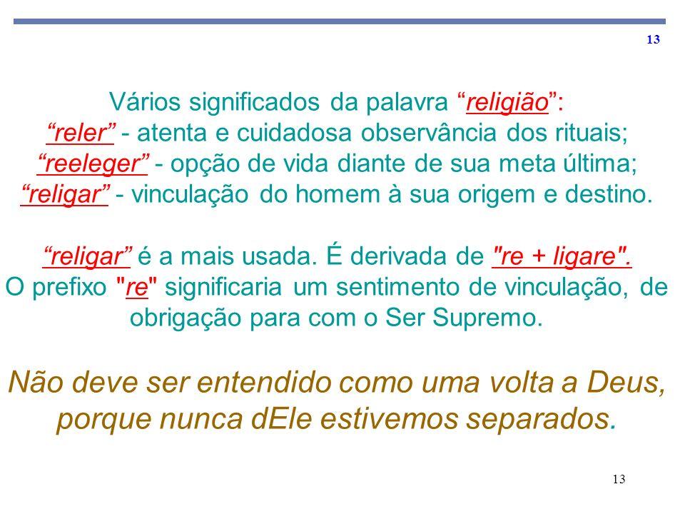 13 Vários significados da palavra religião: reler - atenta e cuidadosa observância dos rituais; reeleger - opção de vida diante de sua meta última; re