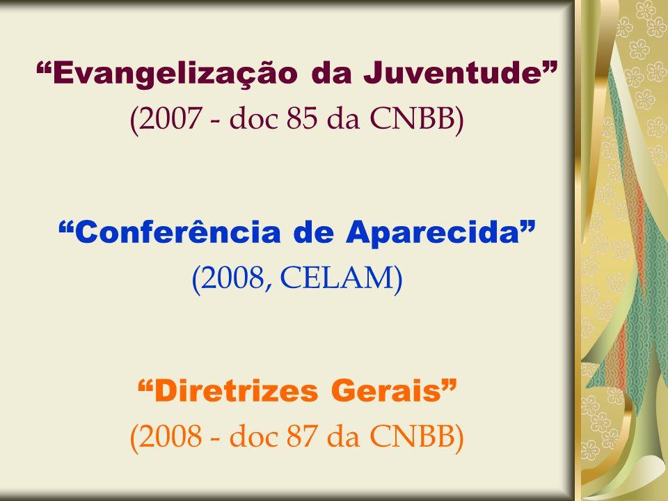 Evangelização da Juventude (2007 - doc 85 da CNBB) Conferência de Aparecida (2008, CELAM) Diretrizes Gerais (2008 - doc 87 da CNBB)