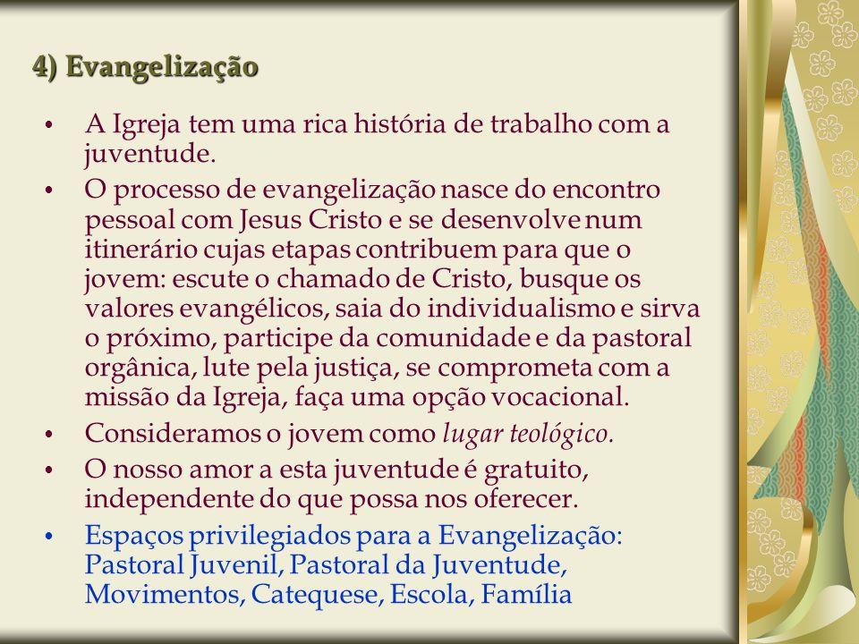 4) Evangelização A Igreja tem uma rica história de trabalho com a juventude. O processo de evangelização nasce do encontro pessoal com Jesus Cristo e