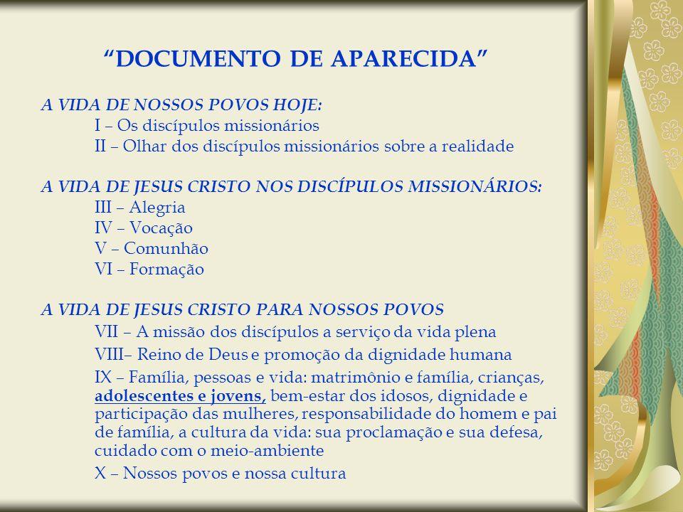 DOCUMENTO DE APARECIDA A VIDA DE NOSSOS POVOS HOJE: I – Os discípulos missionários II – Olhar dos discípulos missionários sobre a realidade A VIDA DE