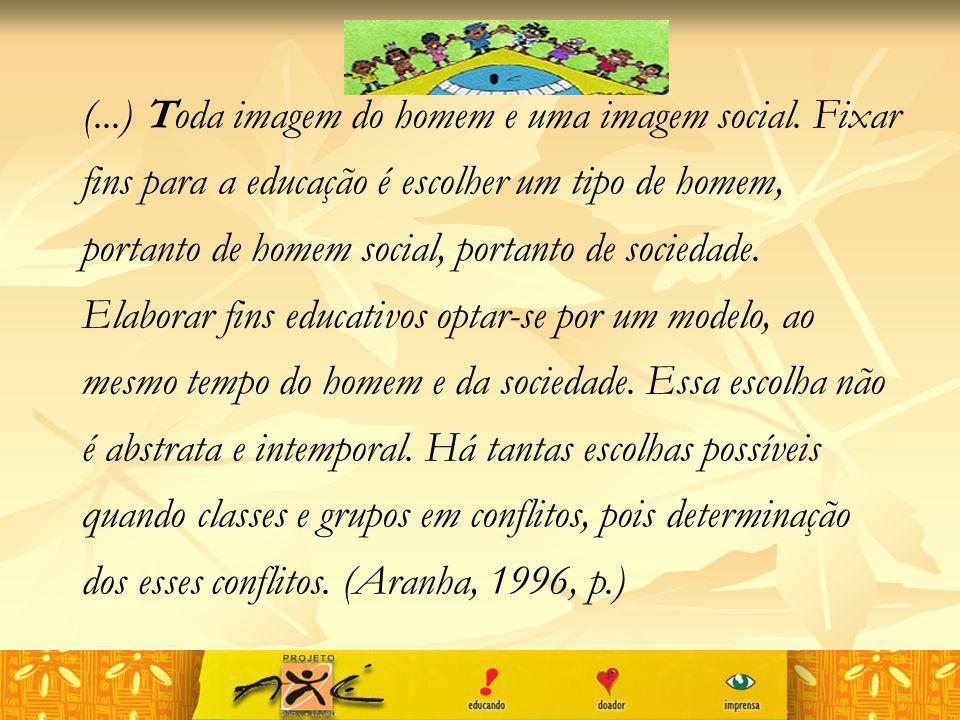 (...) Toda imagem do homem e uma imagem social. Fixar fins para a educação é escolher um tipo de homem, portanto de homem social, portanto de sociedad