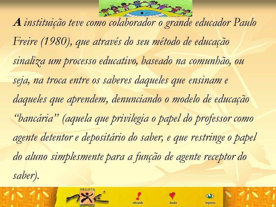 A instituição teve como colaborador o grande educador Paulo Freire (1980), que através do seu método de educação sinaliza um processo educativo, basea