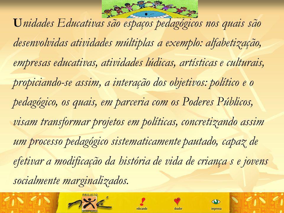 Unidades Educativas são espaços pedagógicos nos quais são desenvolvidas atividades múltiplas a exemplo: alfabetização, empresas educativas, atividades