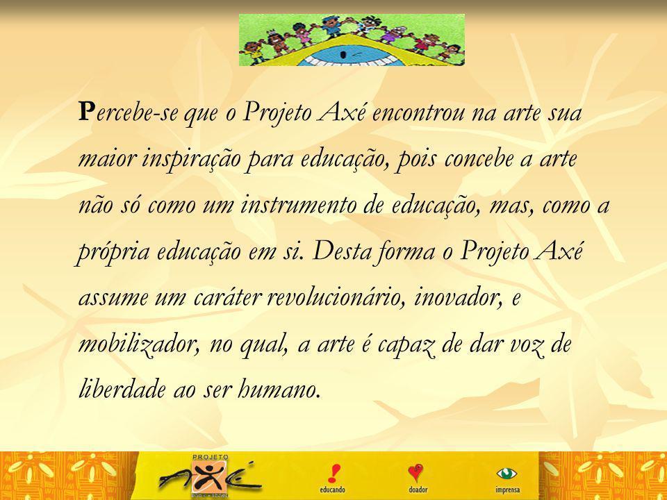 Percebe-se que o Projeto Axé encontrou na arte sua maior inspiração para educação, pois concebe a arte não só como um instrumento de educação, mas, co