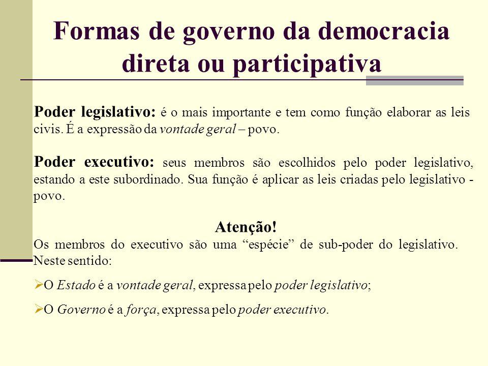 Formas de governo da democracia direta ou participativa Poder legislativo: é o mais importante e tem como função elaborar as leis civis. É a expressão
