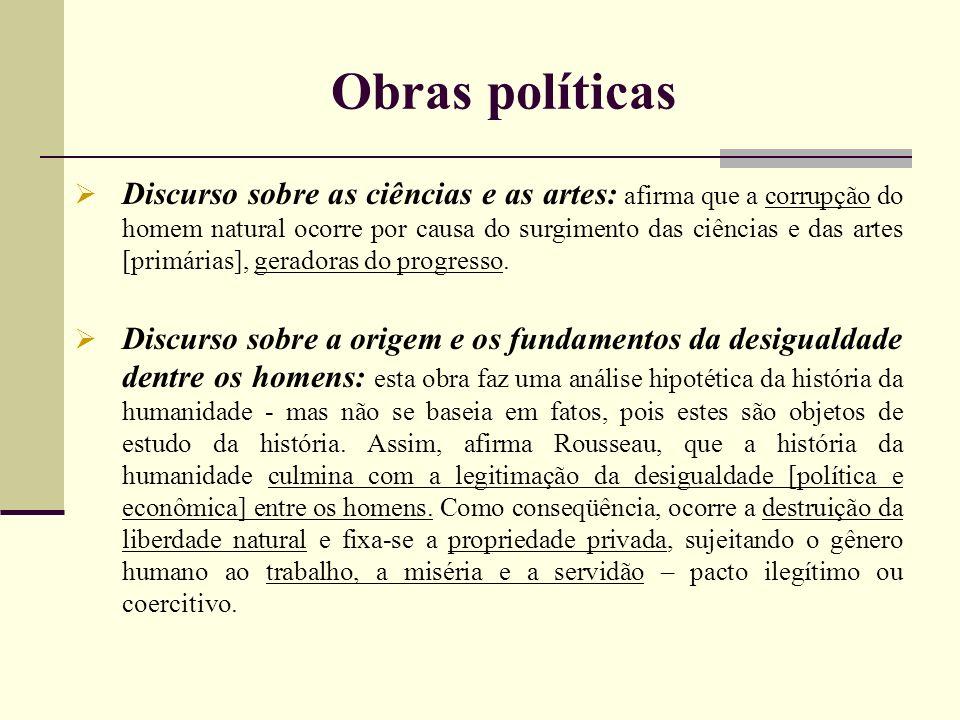 Obras políticas Discurso sobre as ciências e as artes: afirma que a corrupção do homem natural ocorre por causa do surgimento das ciências e das artes