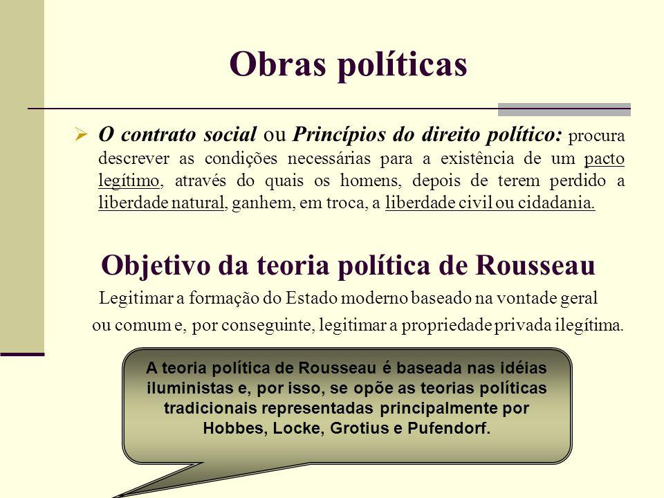 Obras políticas O contrato social ou Princípios do direito político: procura descrever as condições necessárias para a existência de um pacto legítimo