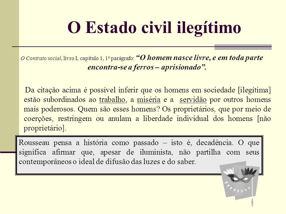 O Estado civil ilegítimo O Contrato social, livro I, capítulo 1, 1º parágrafo: O homem nasce livre, e em toda parte encontra-se a ferros – aprisionado