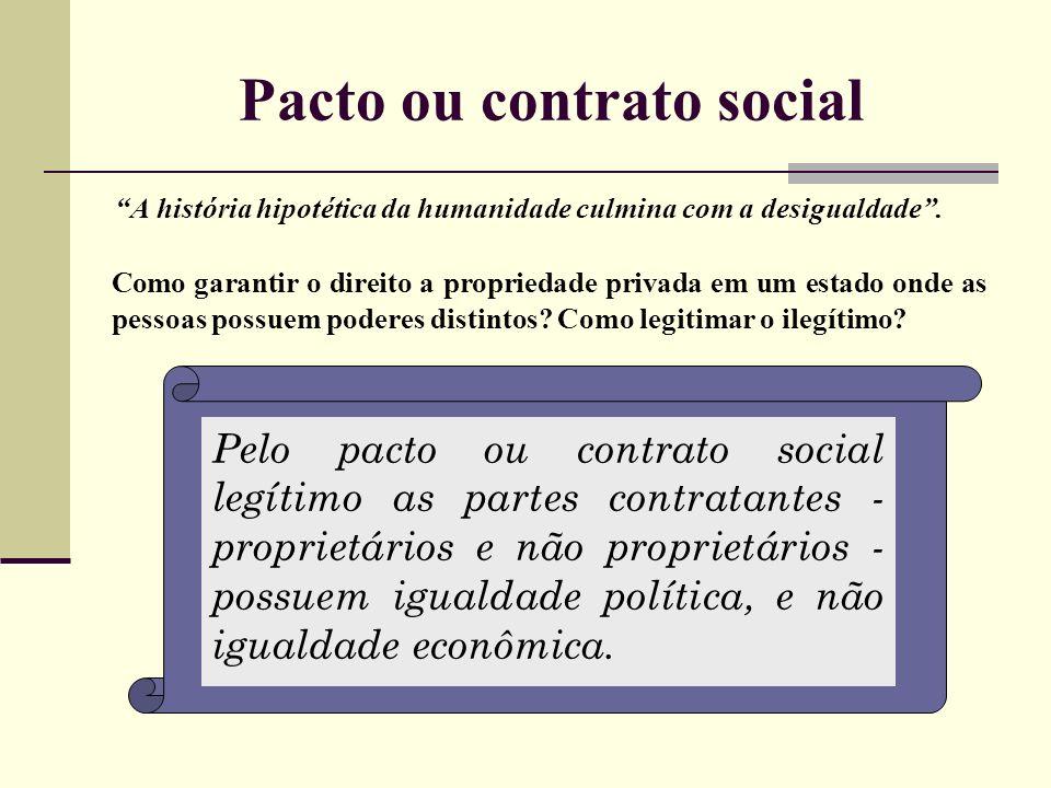 Pacto ou contrato social A história hipotética da humanidade culmina com a desigualdade. Como garantir o direito a propriedade privada em um estado on