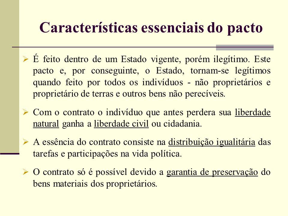Características essenciais do pacto É feito dentro de um Estado vigente, porém ilegítimo. Este pacto e, por conseguinte, o Estado, tornam-se legítimos