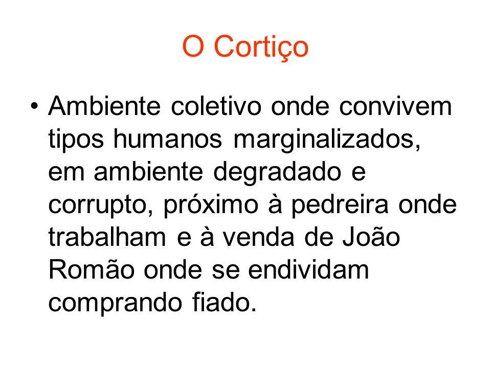 O Cortiço Ambiente coletivo onde convivem tipos humanos marginalizados, em ambiente degradado e corrupto, próximo à pedreira onde trabalham e à venda de João Romão onde se endividam comprando fiado.