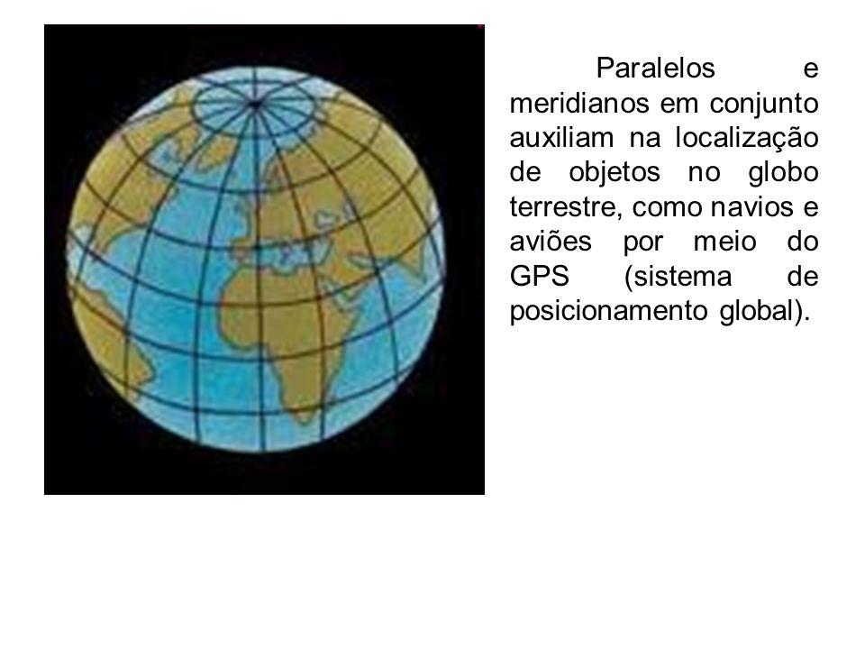 Paralelos e meridianos em conjunto auxiliam na localização de objetos no globo terrestre, como navios e aviões por meio do GPS (sistema de posicioname