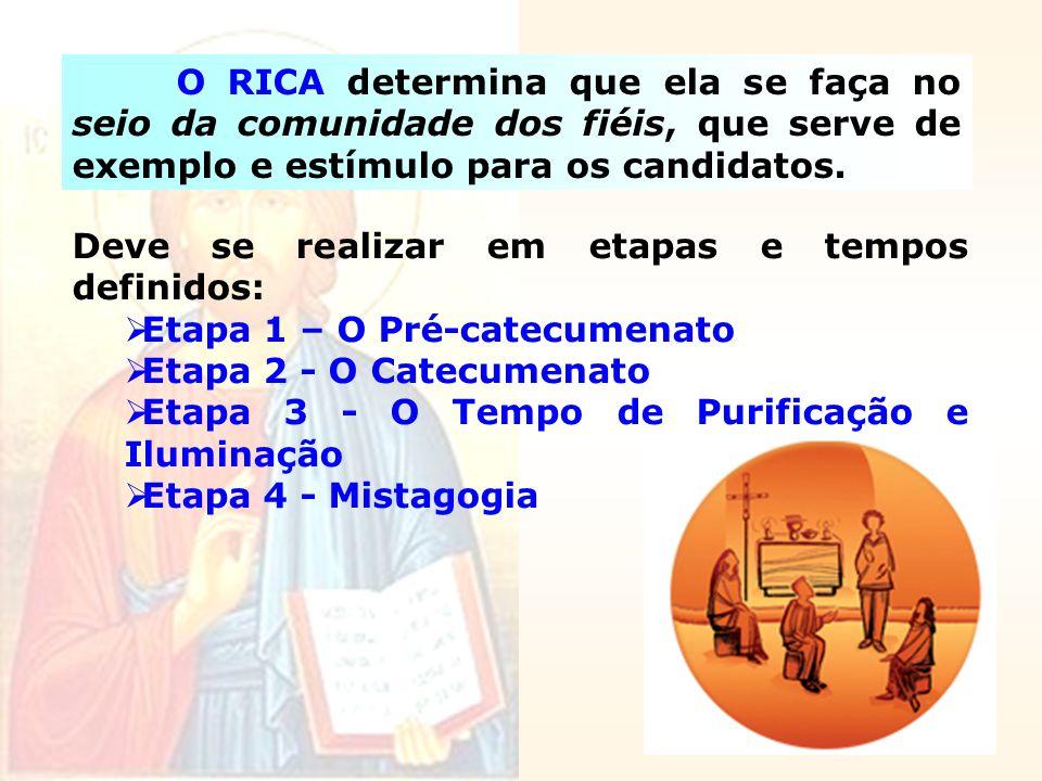 O RICA determina que ela se faça no seio da comunidade dos fiéis, que serve de exemplo e estímulo para os candidatos. Deve se realizar em etapas e tem