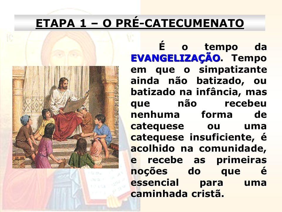 ETAPA 1 – O PRÉ-CATECUMENATO É o tempo da EVANGELIZAÇÃO. Tempo em que o simpatizante ainda não batizado, ou batizado na infância, mas que não recebeu