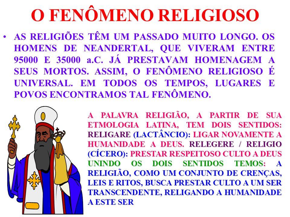 O FENÔMENO RELIGIOSO AS RELIGIÕES TÊM UM PASSADO MUITO LONGO. OS HOMENS DE NEANDERTAL, QUE VIVERAM ENTRE 95000 E 35000 a.C. JÁ PRESTAVAM HOMENAGEM A S