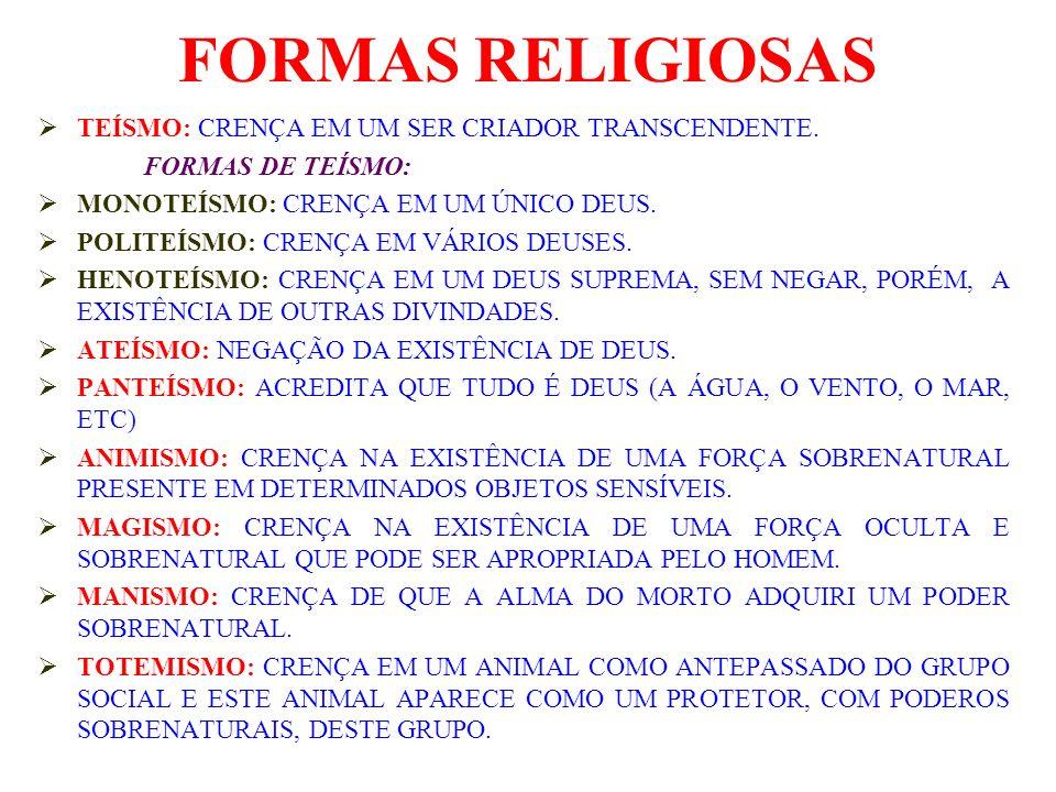 FORMAS RELIGIOSAS TEÍSMO: CRENÇA EM UM SER CRIADOR TRANSCENDENTE. FORMAS DE TEÍSMO: MONOTEÍSMO: CRENÇA EM UM ÚNICO DEUS. POLITEÍSMO: CRENÇA EM VÁRIOS