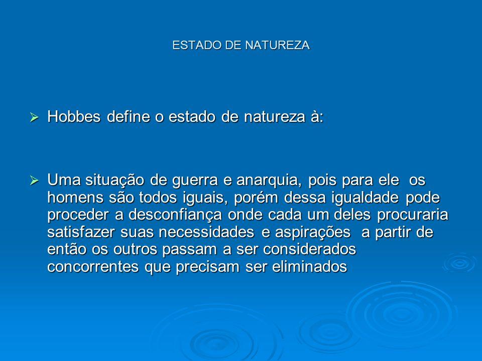 ESTADO DE NATUREZA Hobbes define o estado de natureza à: Hobbes define o estado de natureza à: Uma situação de guerra e anarquia, pois para ele os hom