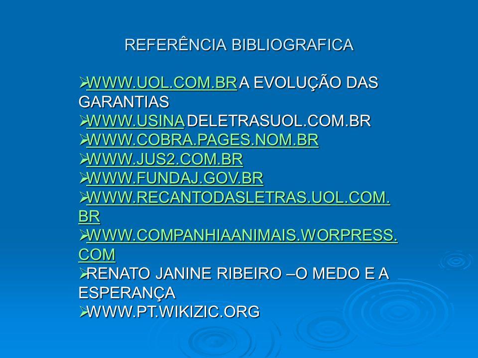 REFERÊNCIA BIBLIOGRAFICA WWW.UOL.COM.BR A EVOLUÇÃO DAS GARANTIAS WWW.UOL.COM.BR A EVOLUÇÃO DAS GARANTIAS WWW.UOL.COM.BR WWW.USINA DELETRASUOL.COM.BR W