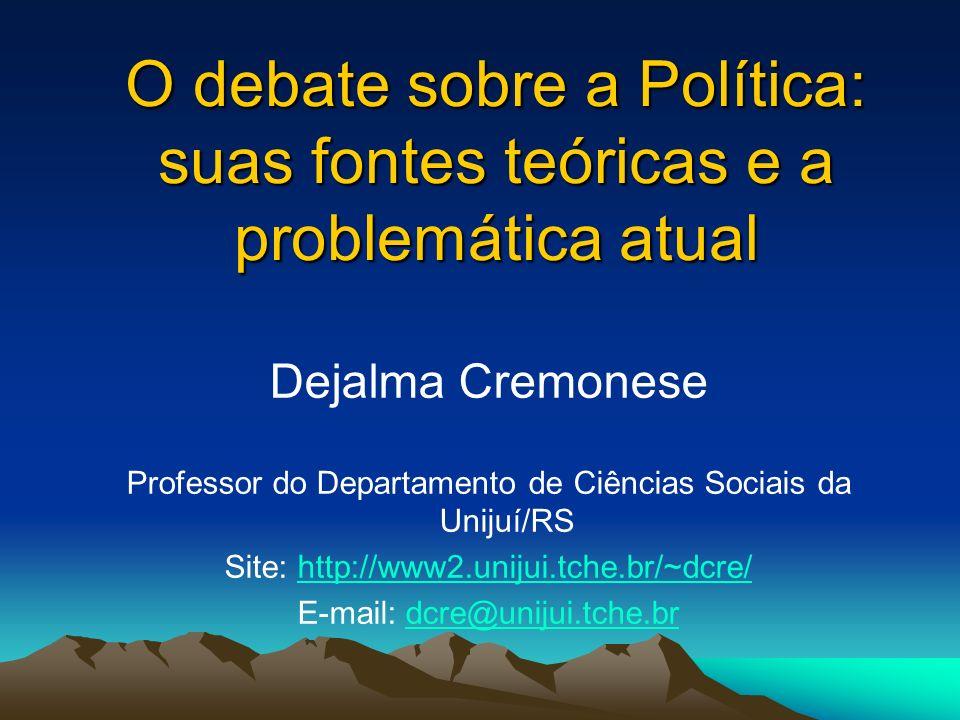 O debate sobre a Política: suas fontes teóricas e a problemática atual Dejalma Cremonese Professor do Departamento de Ciências Sociais da Unijuí/RS Si